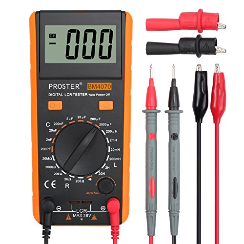 Proster LCR Meter LCR Multimeter Tester for Capacitance Resistance Inductance Measuring Meter with LCD Over-range Display