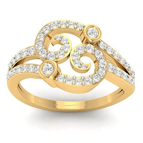 Or jaune 18K 0,44CT TW Round-cut-diamond (IJ | SI) en diamant