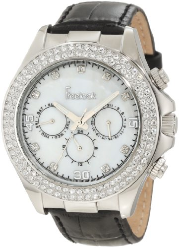 White Mother Of Pearl Chronograph - Freelook Women's HA6306-9 White Mother-Of-Pearl Chronograph Dial With Stones Silver Case Swarovski Bezel Watch