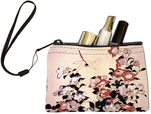 ika Hokusai Art Chinese Bell Flower Dragon-Fly Design Keys Coins Cards Cosmetic Mini Clutch Wristlet (Mini Flower Bells)