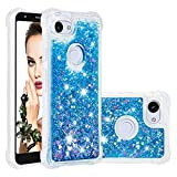 Cfrau Liquid Case with Black Stylus,Women Girls Luxury Love Hearts Stars Bling Glitter Diamond Sparkle Floating Shockproof Quicksand TPU Case Compatible with Google Pixel 3A,Blue Hearts
