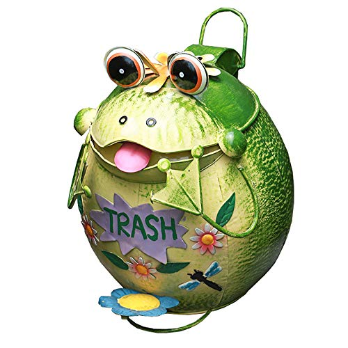 Sungmor Wrought Iron Cute Animal Frog Trash Can with Lid | 13D×15.7H Light Green Color | Practical & Decorative Garden Patio Yard Garbage Bin Home Decoration ()