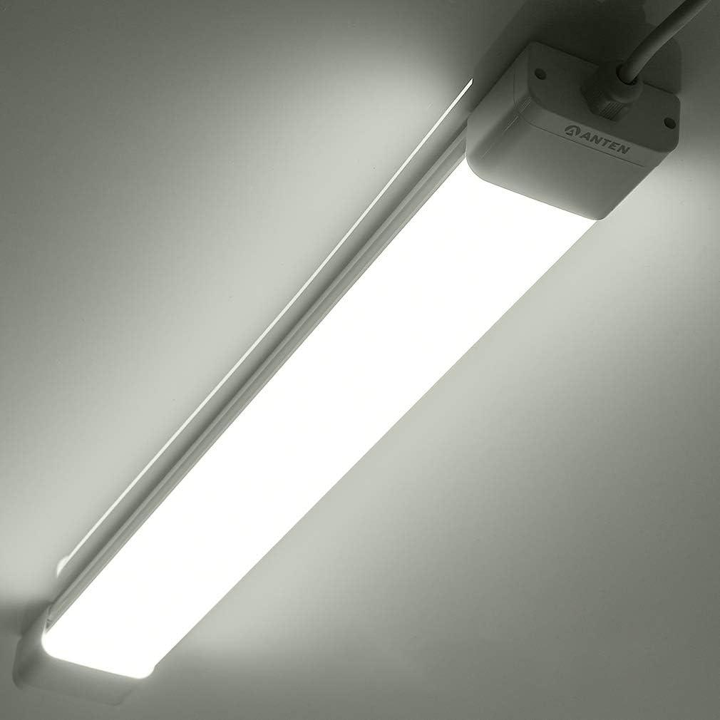 Anten 120cm 36W Pantalla LED Éstanca, 6000K Tri-Proof Regleta/Tubo LED Integrado para Interiores/Exteriores, Pasillo, Garaje(3200Lm, Blanco Frio)
