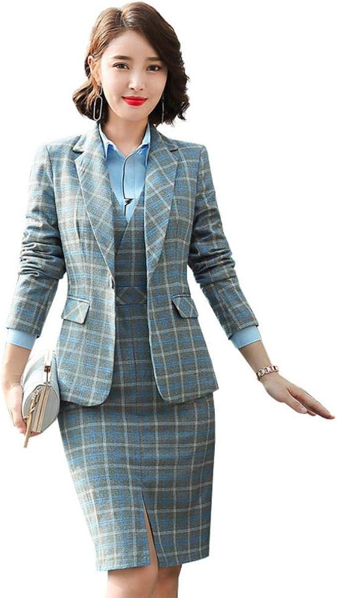 HKRT S-17XL formelles Kleid Blazer Damenkleider mit Jacke