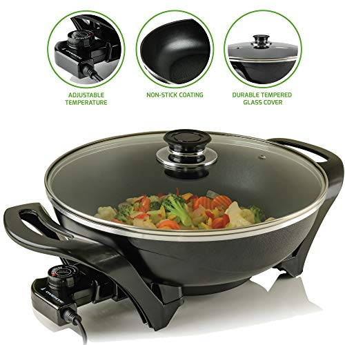"""Ovente Electric Non-Stick, 13"""", Instant Pot, Frying Pan, Cast Iron Skillet (Renewed)"""