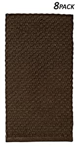 Cotton Craft - 8 Pack Chocolate EuroCafe Waffle Weave Terry Kitchen Towels 16x28, 100% Ringspun 2 Ply Cotton Highly Absorbent Low Lint, Professional Grade 400 Grams, Multi Purpose Bar Mops Hand Towel