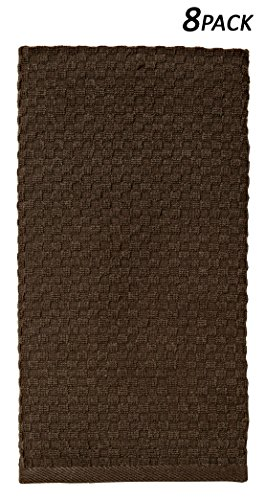 Cotton Craft - 8 Pack Chocolate EuroCafe Waffle Weave Terry Kitchen Towels 16x28, 100% Ringspun 2 Ply Cotton Highly Absorbent Low Lint, Professional Grade 400 Grams, Multi Purpose Bar Mops - Chocolate Terry Cloth