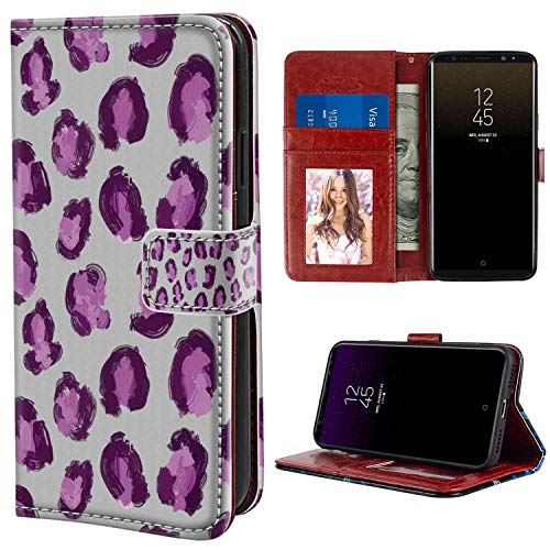 - Samsung Galaxy Note 8 Wallet Case, Abstract Hand Drawn Brush Stroke Pattern Paint Smear Motifs on Greyscale Backdrop Pink Purple and Grey PU Leather Folio Case with Card Holder and ID Coin Slot