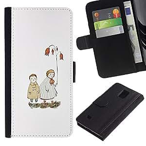 LASTONE PHONE CASE / Lujo Billetera de Cuero Caso del tirón Titular de la tarjeta Flip Carcasa Funda para Samsung Galaxy Note 4 SM-N910 / White Pastel Sea Love Couple