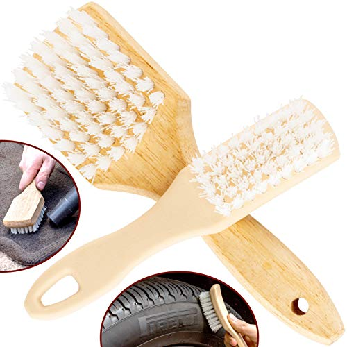 Ergonomic, Pro-Grade Tire Scrubbing Brushes 2 Pack. Easily Scrub Without Scratching Rims or Wheels, Even on Low Profile Sidewalls. Durable Bristles are Great for Floor Mats, Tires, or Home - Tire Low Profile Sizes