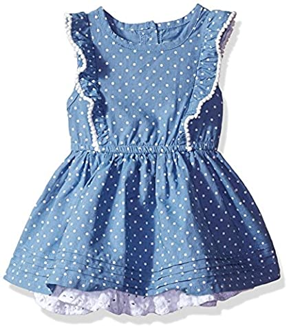 CHEROKEE Toddler Girls' Chambray Dress with Eyelet Ruffle, Blue, 3T - Cherokee Eyelet