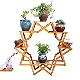 Flower Stand TYCGY Creative Wood Balcony Flower Living Room Indoor Flower Pot Plant European Wood Floor Multi-layer Star Personality Creative