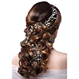 Fashion Hair Jewelry Bridal Headband Pearl Crystal Headpieces Wedding Hair Accessories for Women Girls 100cm (Silver)