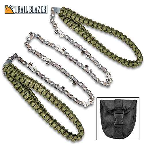"""Trailblazer Pocket Paracord Chain Saw with Pouch - High Carbon Steel Construction, 11 Sharp Teeth, 24"""" Saw Length - Overall 39 1/2"""" -  TAYLOR BRANDS, MT08-72C"""
