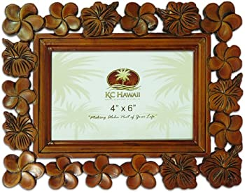 "Plumeria Wood Carved Picture Frame 4"" X 6"""
