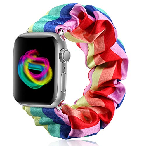 Henva Compatible with Apple Watch Band Scrunchies SE 38mm 40mm 42mm 44mm, Cloth Soft Pattern Printed Fabric Wristband Bracelet Elastic Scrunchy Bands for iWatch Series 6 5 4 3 2 1, Women Girls
