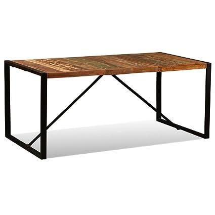 Table De Salle A Manger Bois.Vidaxl Table Salle A Manger Bois De Recuperation Massif 180 Cm Table A Manger