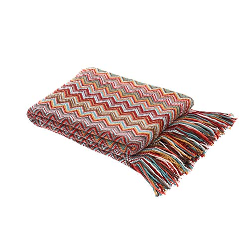 """Battilo Bohemian Knit Throw Blanket with Fringe Super Soft Knitted Blanket for Couch, Sofa, Bed, Chair 60"""" x 50"""" (Dust Red)"""