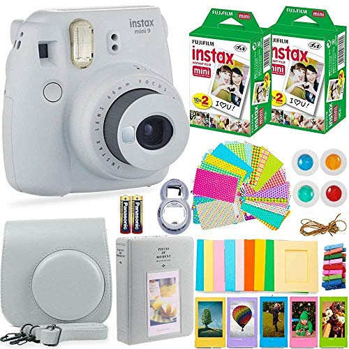 Fujifilm Instax Mini 9 Instant Camera + Fuji Instax Film (40 Sheets) + Batteries + Accessories Bundle - Carrying Case, Color Filters, Photo Album, Stickers, Selfie Lens + More (Smoky White)
