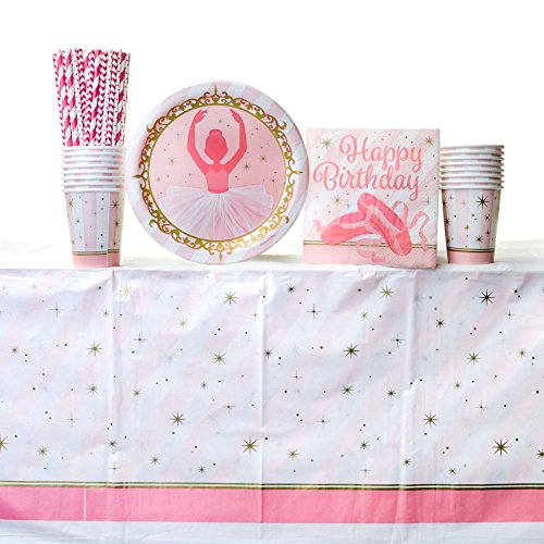 Cedar Crate Market Twinkle Toes Party Supply Pack for 16 Guests: Straws, Dinner Plates, Luncheon Napkins, Cups, and Tablecover ()