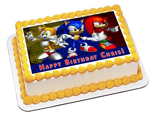 Sonic - Edible Cake Topper - 10'' x 16'' (1/2 sheet) rectangular