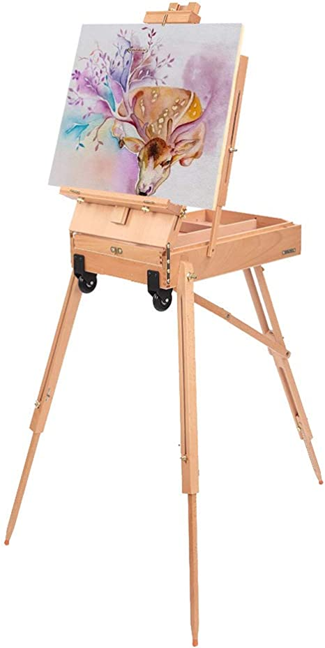 Wooden Art EASEL French Style Drawer Palette Traveling Sketchbox Artist Stand US
