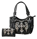 HW Collection Western Rhinestone Cross with Wings Stitching Concealed Carry Handgun Handbag and Crossbody Wallet (Black)