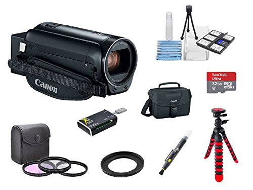 Canon VIXIA HF R800 A KIT + 3PC Filter Kit + 2 Tripods + 32GB microSD Card + Step up adapter ring + Camera Bag + Card Reader + 6PC Cleaning Kit + 2-in-1 Lens Cleaning Pen by Hawthorne