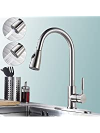 homelody stainless steel pull down kitchen faucet with sprayer brushed nickel gooseneck faucets for kitchen sinks