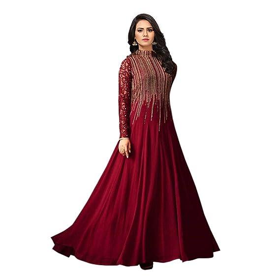MONIKA SILK MILL Women s Georgette Embroidered Anarkali Salwar Suit Dress  Materials (MSM Maisha 4806 848d0b838