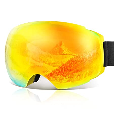 YAKAON OTG Ski Goggles UV Protection Snowboard Goggles Frameless Spherical Anti-Fog Lens for Men Women