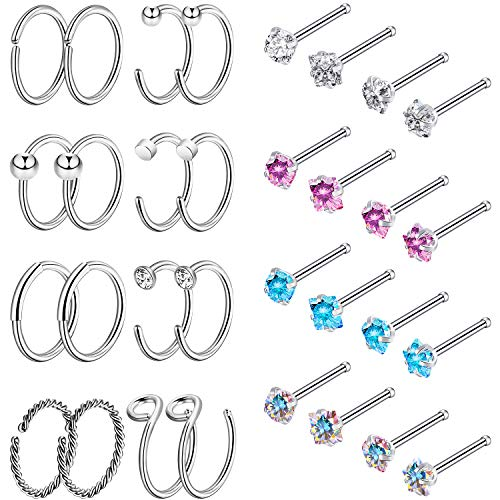 Chinco 32 Pieces C-Shaped Nose Ring L-Shaped Hoop Tragus Nose Studs Bone Curved Hoop Tragus Cartilage Hoop Piercing (C Shape, Bone Stud, Silver Tone Set B1)