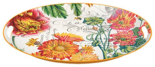 Michel Design Works Decorative Oval Metal Platter, 16.25 x 12.75-Inch, Blooms and -