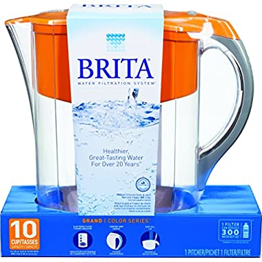 Brita Grand Water Filter Pitcher, Orange, 10 Cup