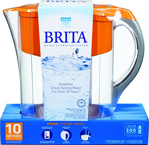 Brita Grand Water Filter Pitcher, Orange, 10 Cup (Brita Water Bottle Orange compare prices)