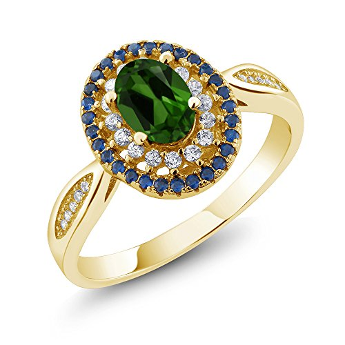 Gem Stone King 1.40 Ct Oval Green Chrome Diopside 18K Yellow Gold Plated Silver Ring (Size ()