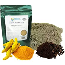 Bael Wellness Bentonite Clay with Turmeric and Cloves Powder Indian Healing, Fullers Earth for Facial Mask, Hair, Bath and Spa