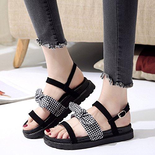 Sandalias Antideslizante 36 YMFIE Toe Shoes 37 Playa UE EU Señoras cómodo Fondo veraniega de Moda de Plano Toe 6z8w76BqW