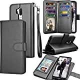 LG G7 ThinQ Case, LG G7 ThinQ Wallet Case, LG G7 2018 PU Leather Case, Tekcoo Luxury ID Cash Credit Card Slots Holder Purse Carrying Folio Flip Cover [Detachable Magnetic Hard Case] Kickstand - Black
