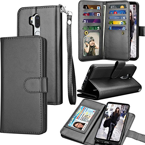 Tekcoo Compatible for LG G7 ThinQ Wallet Case/LG G7 2018 PU Leather Case, Luxury ID Cash Credit Card Slots Holder [Black] Carrying Folio Flip Cover [Detachable Magnetic Case] & Kickstand