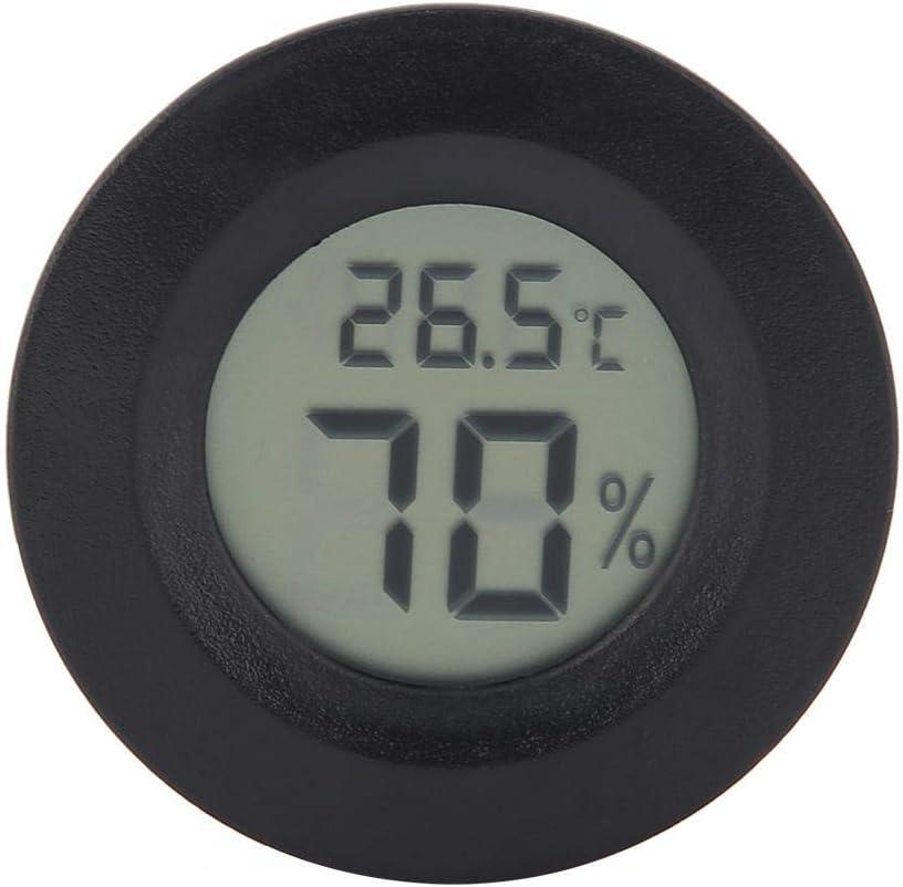 Mini Monitor de Temperatura de Humedad Interior con Termómetro Higrómetro Digital con Pantalla LCD Grande y Luz de Fondo para Reptiles(Negro)