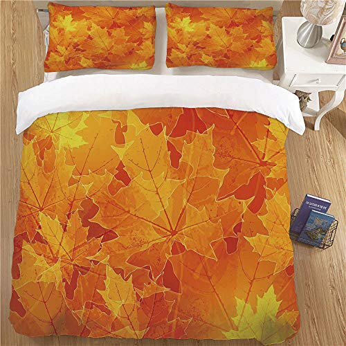Kids Duvet Cover Set,Queen Size,3 Piece (1 Duvet Cover + 2 Pillow Shams) for Bedroom Fall Decor Seasonal Maple Leaves Botany Foliage Vibrant Floral Forest Texture Image Decorative Orange Yellow