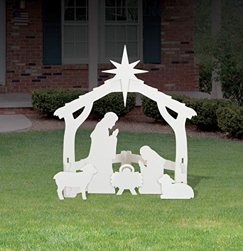 Outdoor White Nativity set (Nativity Outdoor Decor Scene Christmas)
