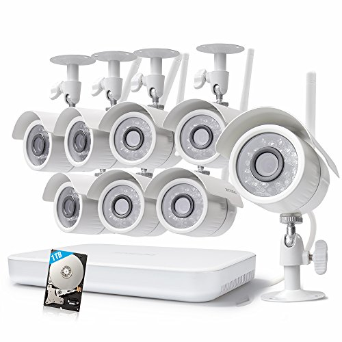 Zmodo 1080p 8CH HDMI NVR 1TB HDD - 8 HD WiFi Wireless Weatherproof Security Cameras System with Night Vision - Hassle Free Installation No Video Cable Needed