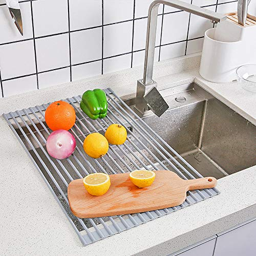 (Allywit Dish Drying Rack, Over The Sink Dish Drainer, Foldable Stainless Steel Dish Drying Mat, Kitchen Drain Rack (Gray))