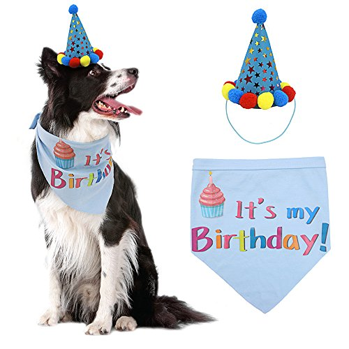 PUPTECK Dog Birthday Bandana Scarfs with Cute Doggie Birthday Party Hat ()