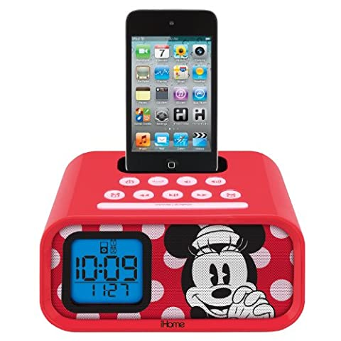 Minnie Mouse Dual Alarm Clock and 30-Pin iPod Speaker Dock, DM-H22 (Ipod Dock With Clock)