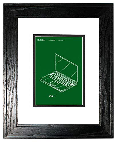 - Steve Job's First Laptop Patent Art Green Print in a Black Pine Wood Frame with a Double Mat (20