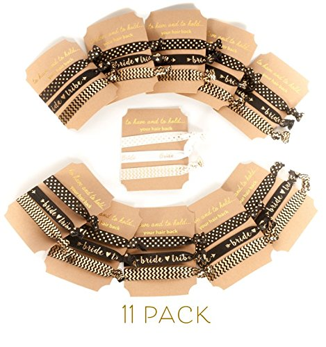 Bride Bride Tribe Bachelorette Party Hair Ties (11 Piece Set) - Black & Gold