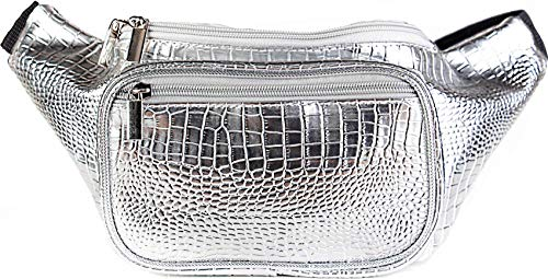 SoJourner Holographic Rave Fanny Pack - Packs for festival women, men | Cute Fashion Waist Bag Belt Bags (Silver Gator) ()